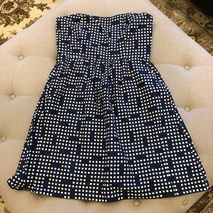 GAP Strapless Blue & White Polka Dot Dress